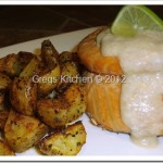 Crab Stuffed Salmon Pinwheels w/Browned Butter Wine Sauce