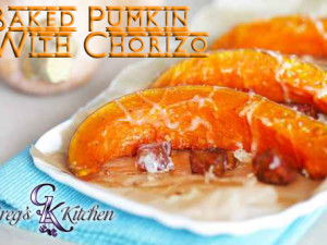 Pumpkin pieces baked with chorizo sausage and cheese